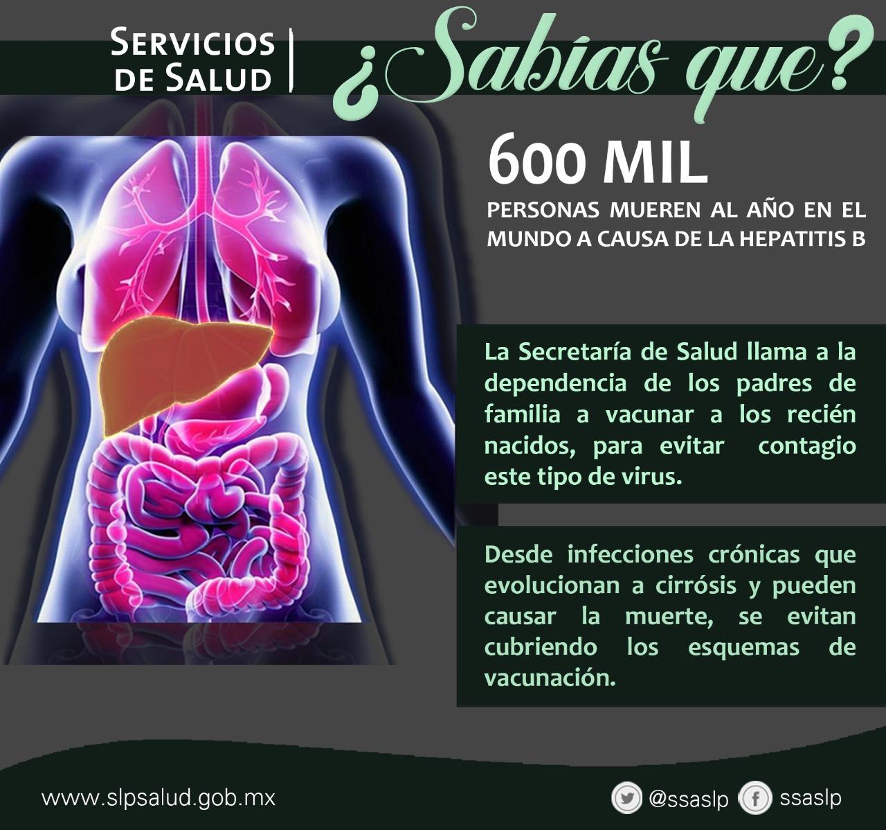 600 MIL PERSONAS MUEREN AL AÑO EN EL MUNDO A CAUSA DE LA HEPATITIS B.: SECRETARÍA DE SALUD.