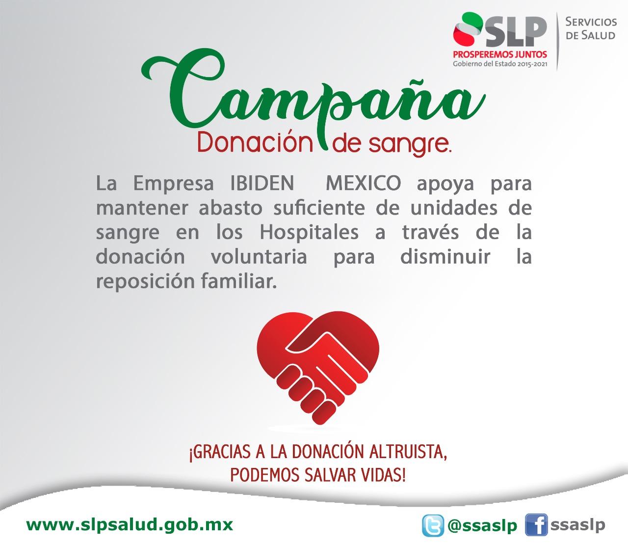 EMPRESA IBIDEN, ESTE 2018, TAMBIÉN SE UNE A LAS CAMPAÑAS DE DONACIÓN ALTRUISTA DE SANGRE: SECRETARÍA DE SALUD